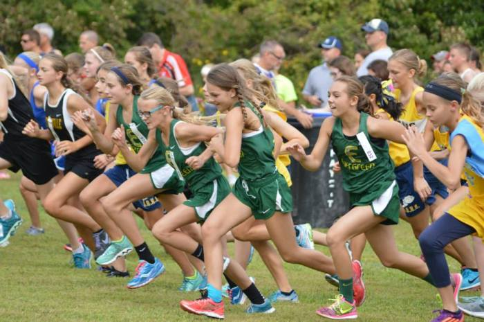 Savannah, Kennedy, Millie and Maddy surge during the start of the Middle School girls' race