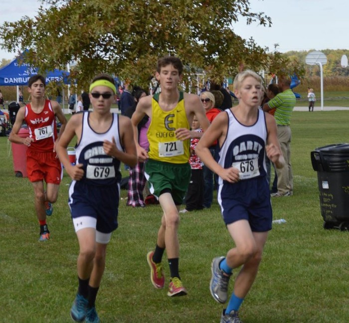 Brendan works on a couple runners from Carey on his way to a season best time