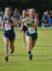 Sarah chases down a Montpelier runner in the final sprint