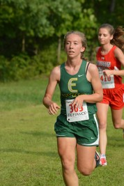 Sarah keeps a steady pace through mile one
